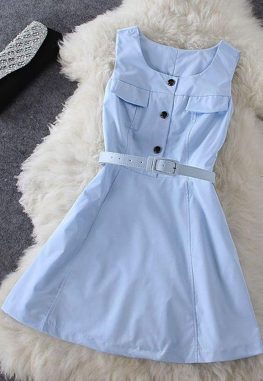 Sleeveless Blue Dress