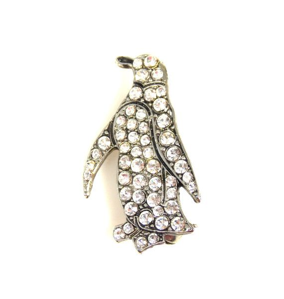 "Offered to you by The Fashion Den is this sparkling brooch, full of clear rhinestones in the shape of a penguin and set in gold tone metal.  The brooch measures 1.25"" fro... #vintage #jewelry #etsygift #sale #thefashionden"