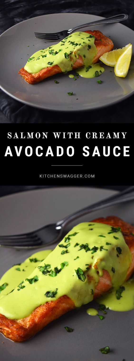 Pan-seared salmon topped with an easy, creamy avocado sauce.
