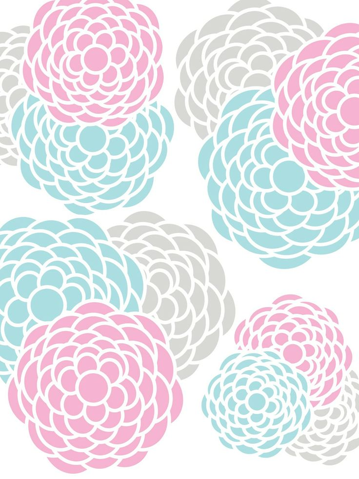 Make it...Create--Printables & Backgrounds/Wallpapers: Floral Print...Aqua, Pink, Gray, Yellow