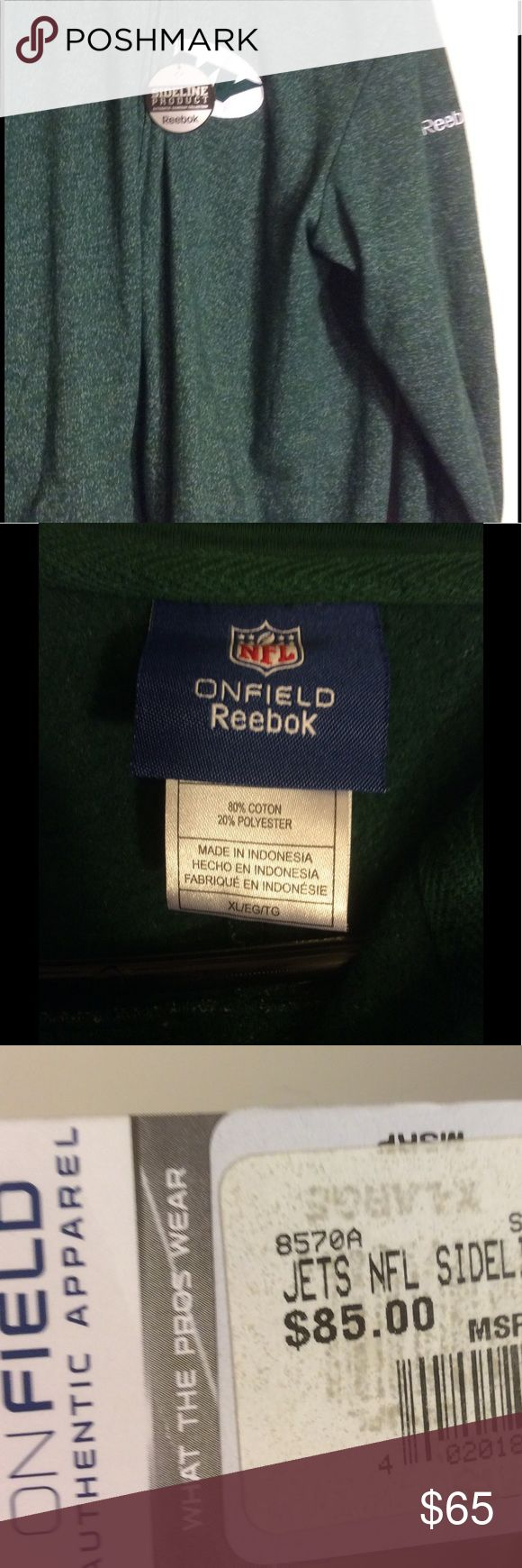NWT NFL Jets Static Storm Hoodie XL Reebok Dear Readers, This listing is for an authentic NWT official Jets NFL Storm Static Hoodie in size XL. Please Note: it has a white mark inside the hood picture was taken, but it costs $85. It has never been worn. Great for a fan or gift. Will ship within 3 days. Reebok Sweaters