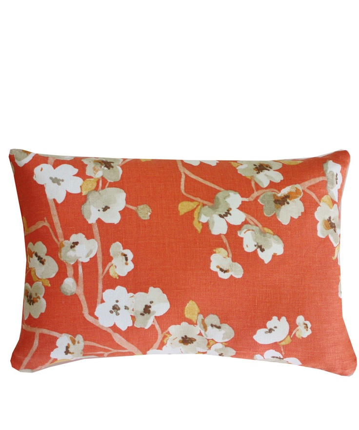Small Coral Throw Pillows : Cherry Blossom Linen Lumbar Pillow, Coral inside Pinterest Lumbar Pillow, Cherry Blossoms ...