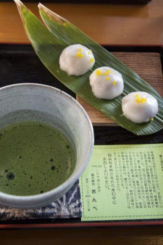 Green tea and Iga Mochi in Zao Onsen, Japan