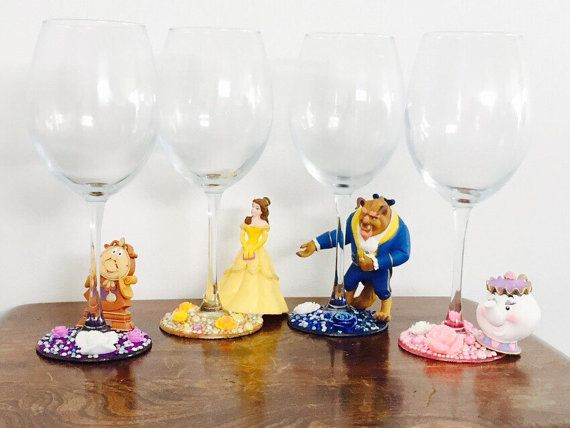 Disney beauty and the beast wine glass set by SparkleBella1