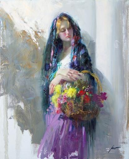Pino FLOWER MARKET GIRL painting | framed paintings for sale
