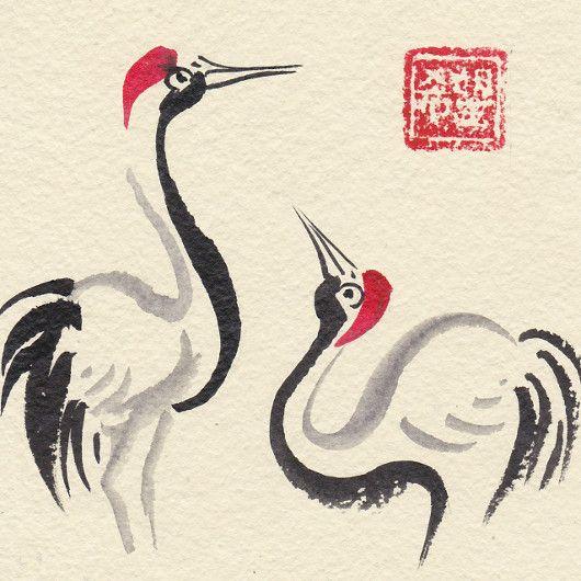 Artistic handmade card from Daniela Renčová: Crane Courtship Dance. Ink wash painting.