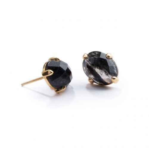 Black Rutile Quartz Studs Gold | The Pink City Collection | Cathy Pope Jewellery