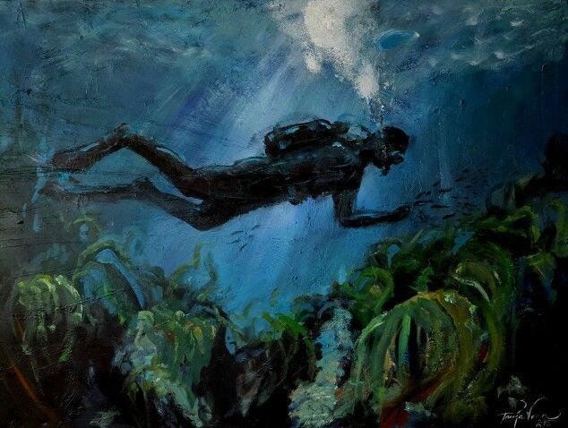 The Diver / Dykkeren - by Tanja Vean, Norway 120×90 cm www.facebook.com/ateliervean