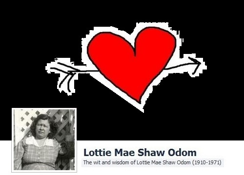 """""""Some people don't have hearts. They have seed warts on their livers."""" - Lottie Mae Shaw Odom (1910-1971)"""