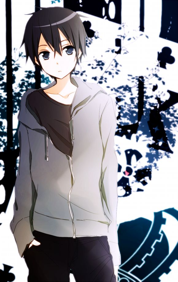 It's like he's posing for an Old Navy Photgraph. Lol. Kirito what is with that face.