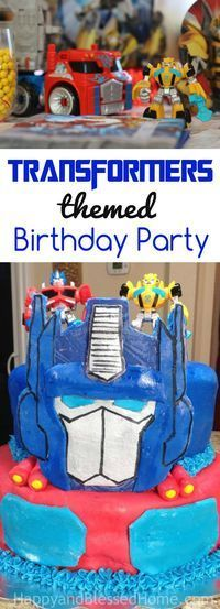 Fun ideas for kid games and party food for a fantastic Transformers Birthday Party includes tips on easy party foods, fun games for kids, and an Optimus Prime Birthday Cake based upon our favorite kids' show The Rescue Bots.