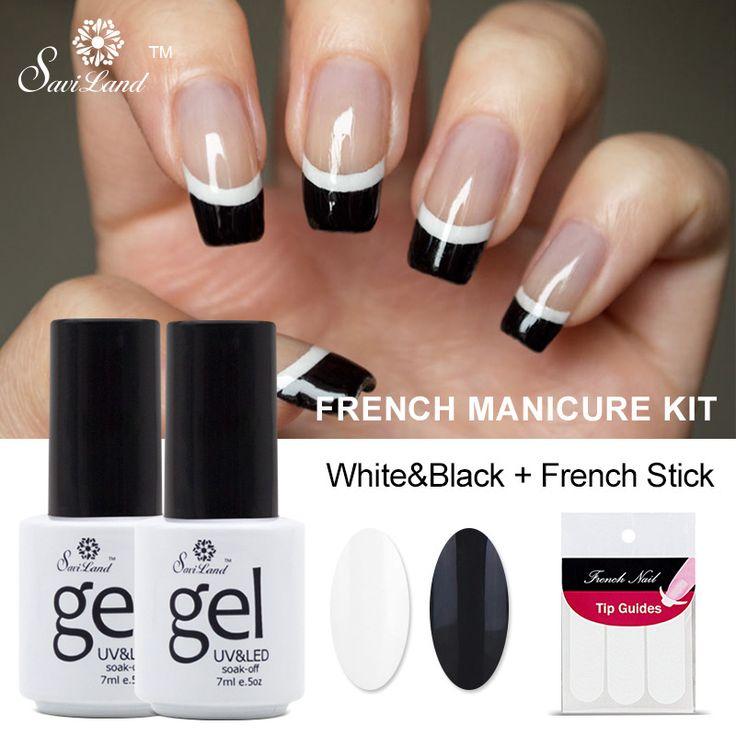 Saviland 2pcs French Manicure Set Nail Art Black White UV Gel Nail Polish Free Tip Guides Soak Off French Gel Polish