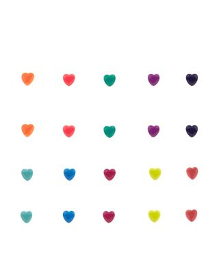 20 x Neon Hearts Stud Earrings