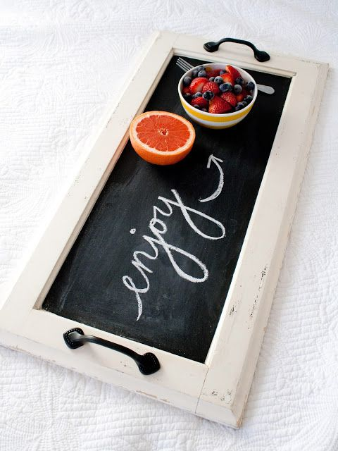 DIY Chalkboard Tray  - for a breakfast in bed gift basket.