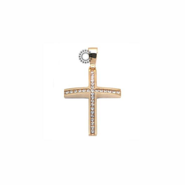 Ένας λιτός & λεπτός σταυρός γυναικείος ή βαπτιστικός από χρυσό Κ14 με ένθετα ζιργκόν σειρέ #σειρε #γυναικειος #βαφτιση #χρυσο #σταυρος