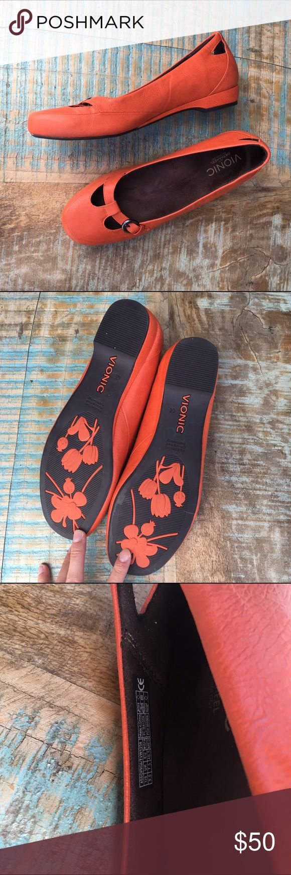 Vionic Orthaheel Mary Janes Supportive! Made for plantar fasciitis, but is also excellent for anyone who likes/needs arch support. I wear this brand because my flat feet causes knee problems. These are just too big for me. Fit like a 10 in my opinion. Just a few dings in front otherwise excellent shape. Perfect for that outfit pop! Vionic Shoes Flats & Loafers