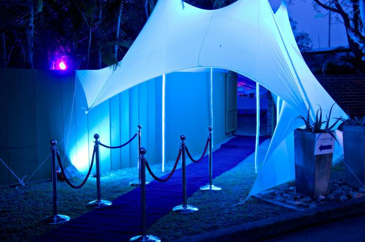 Event Entrance with stretch tent & blue lights #CreativeCollective #Blue #entrance