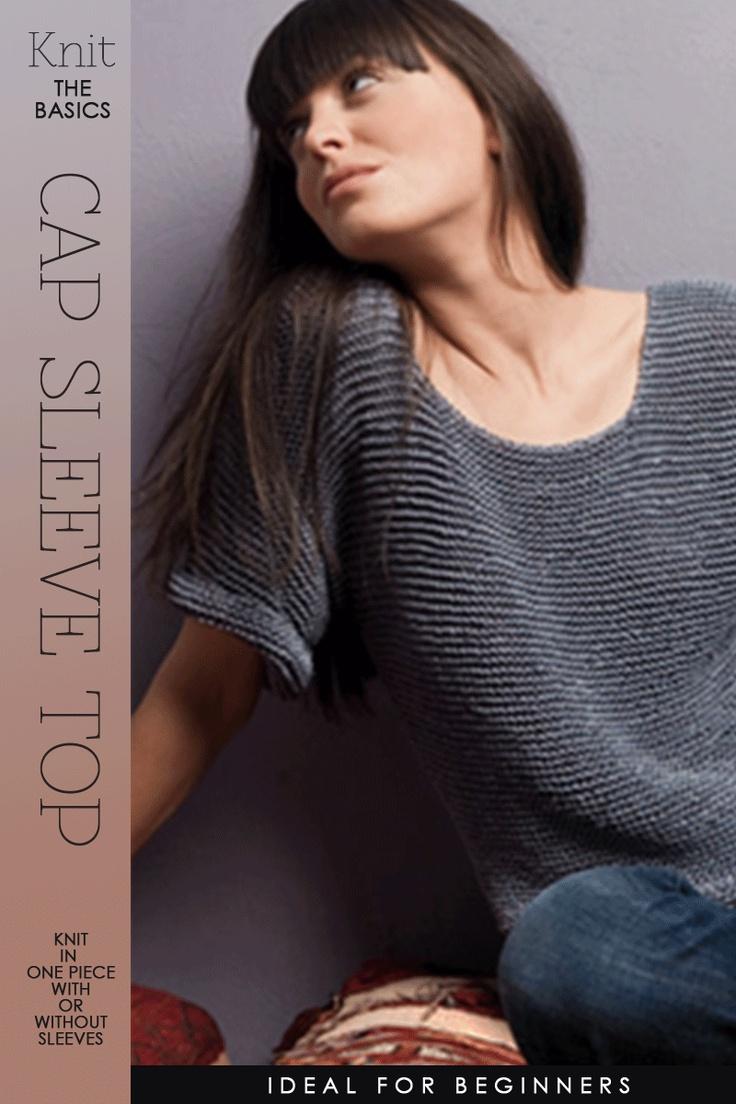 Knitting Styles For Beginners : Basic cap sleeve top free pattern ideal for beginner