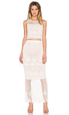 Alice + Olivia Crochet Crop Top & Skirt Set in Cream & Nude
