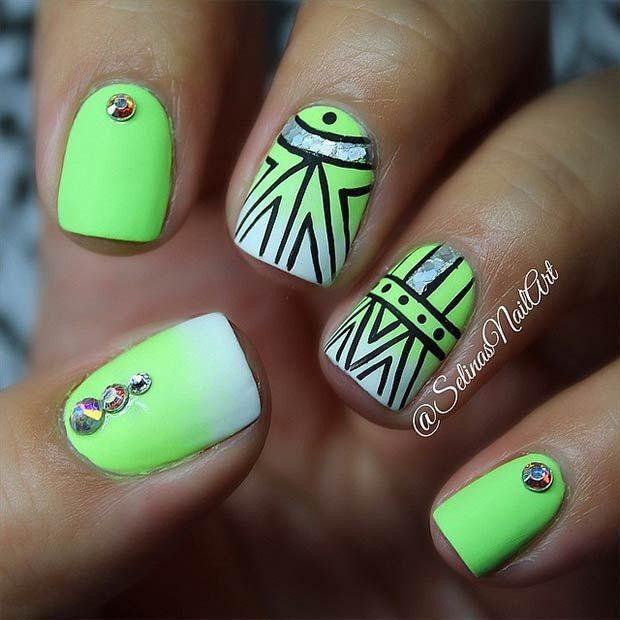Best 25 lime green nails ideas on pinterest pretty nails 19 tribal inspired nail art designs prinsesfo Images