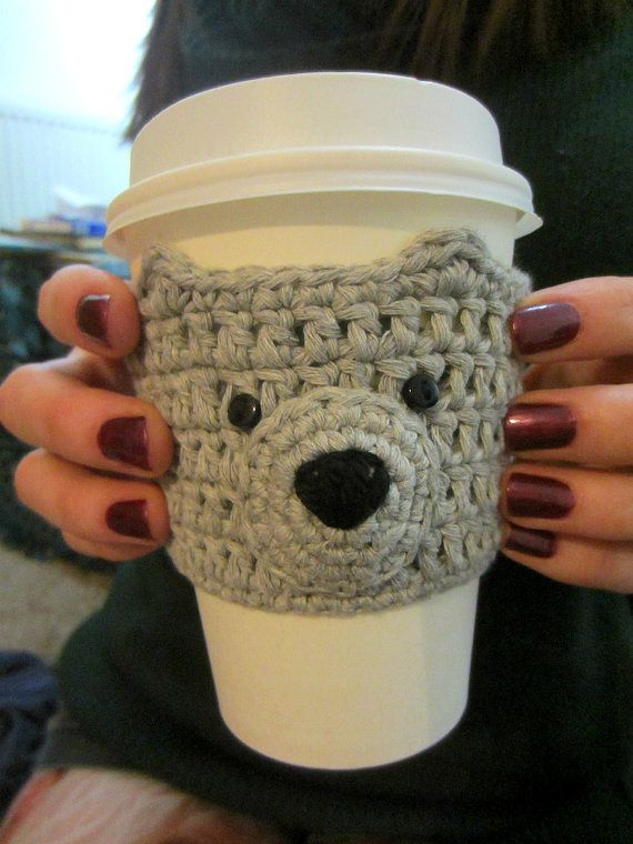 Grey Bear Cup Cozy Gray Cup Cosy Mug Warmer Coffee by ThatTeaCat