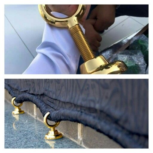 Hooks on #shadarwan has been replaced with new ones made out of 100% gold #kabah # Mecca