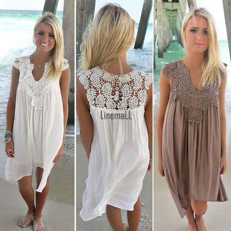 Style: Sundress. New Fashion Women V-Neck Casual Chiffon Lace Patchwork Beach Mini Dress. Sleeve: Sleeveless. Material: Chiffon, Lace. Occasion: Casual. Dress Length: Above Knee, Mini. Unique style, create stunning curves, make you more beautiful, fashion, sexy and elegant. | eBay!