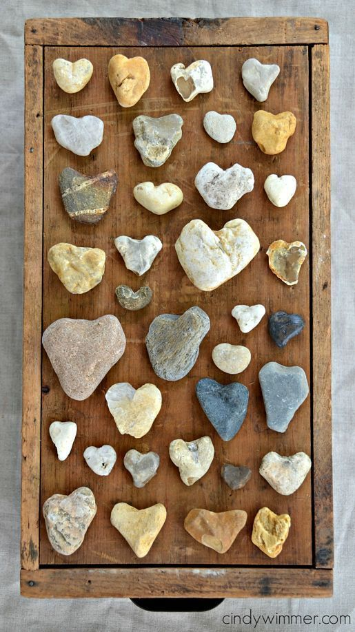 A collection of heart-shaped rocks – collected alo…