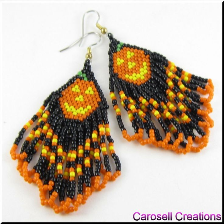 Pumpkin Patch Halloween Seed Beaded Holiday Earrings TAGS - Jewelry, Earrings, Beaded, trick or treat, orange, black, october, spook, glass, seed beads, pagan, samhain, jack o latern, festival of the dead, all hallows day, pumpkin, holiday, haunted, scary, fun, jewelry, native american, indian, earrings, hand made, women, carosell creations, ladies