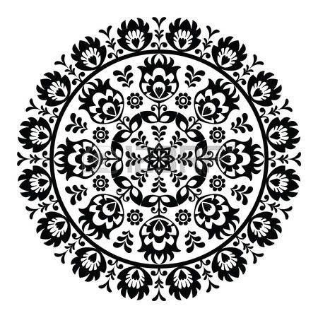 Modelo del arte popular polaco en el círculo - Lowickie wzory, wycinanki