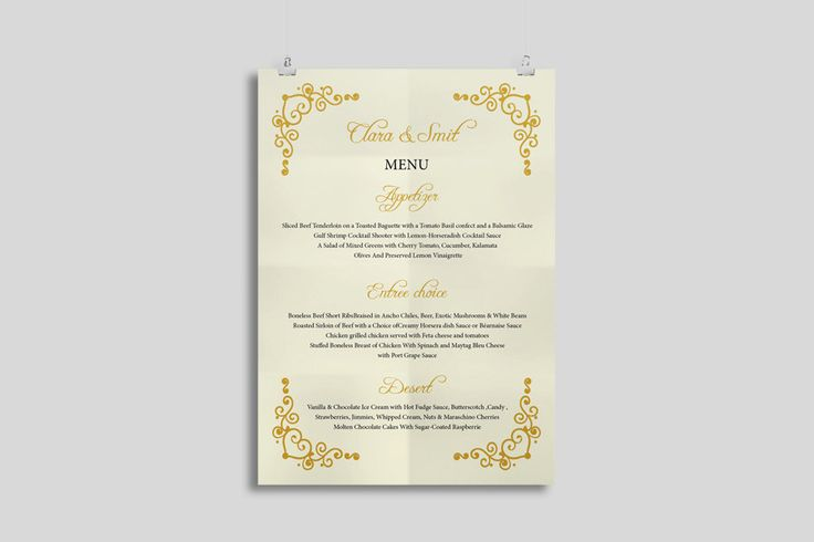 Editable Wedding Menu Template Printable Microsoft Word File - ms word menu template