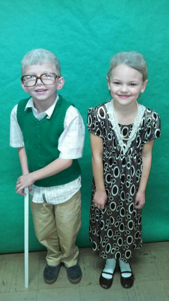 100th day of school. Dressed up as old people. 1st grade.