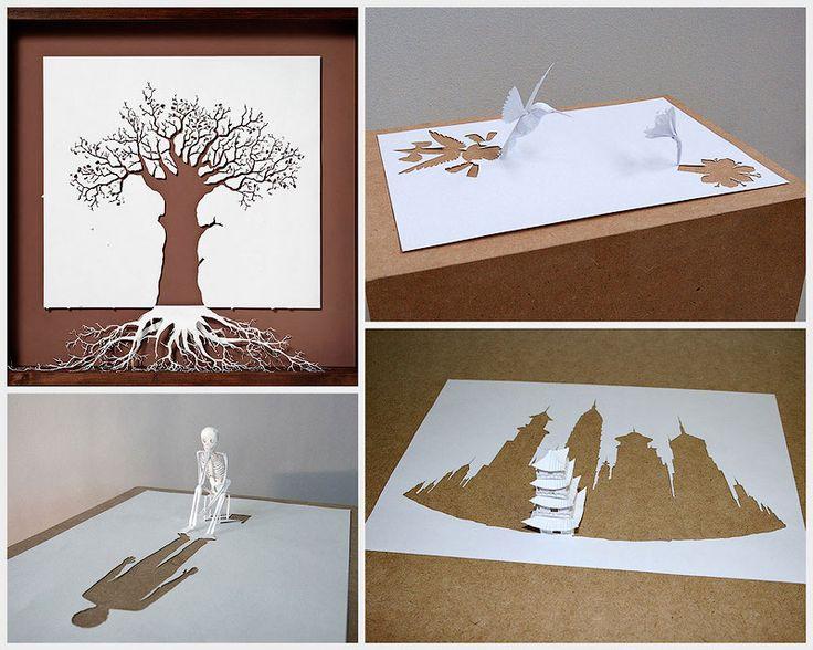 Датский художник Питер Каллесен создает невероятные произведения искусства из одного листа бумаги формата А4. Вырезая и складывая, он созд...
