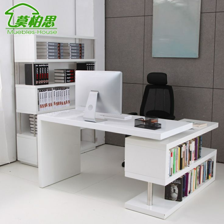 mo bosi white paint corner computer desk desk desk with bookcase rotatable