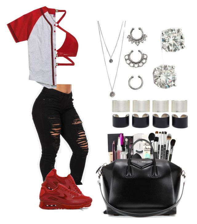 """""""Red """" by life957 ❤ liked on Polyvore featuring Maison Margiela, NIKE, Agent Provocateur, Champion, Givenchy, Charlotte Russe and Saks Fifth Avenue"""