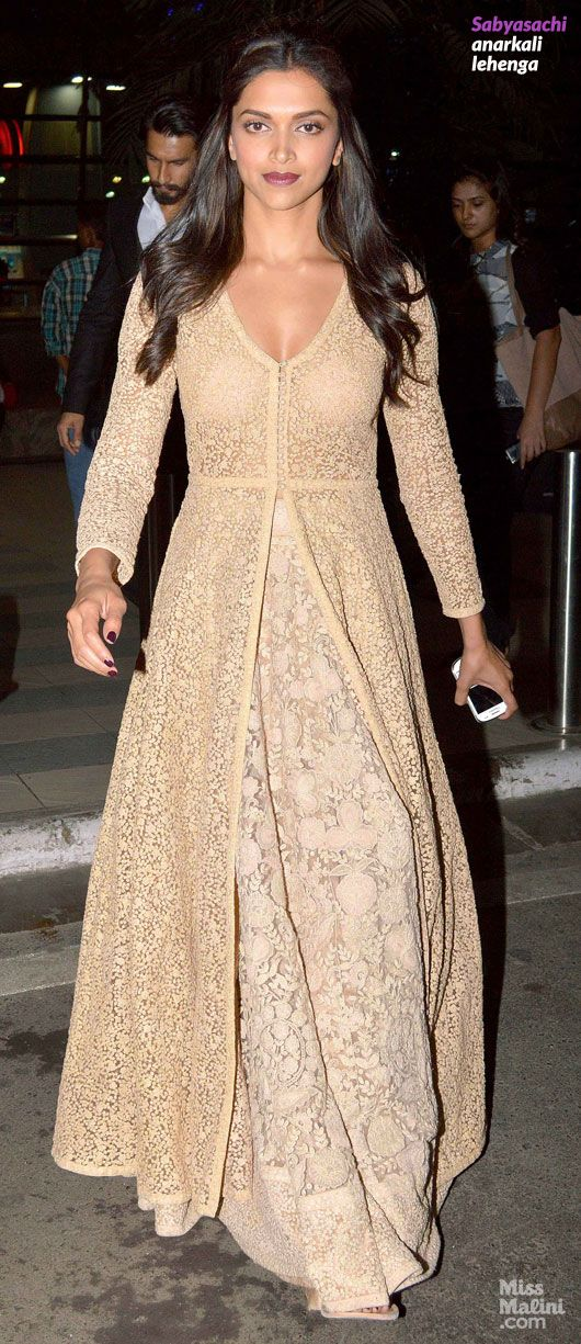 Deepika Padukone in Sabyasachi anarkali lehenga Simple, neutral, lace. Gorgeous.