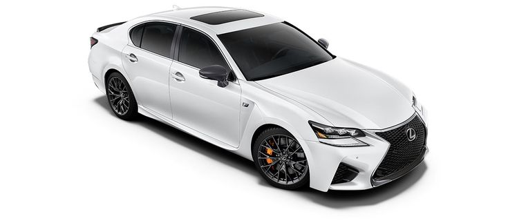 "2017 GS F   in Ultra White with 19-inch split-10-spoke forged alloy wheels<span class='tooltip-trigger disclaimer' data-disclaimers='[{""code"":""TIREWEAR5"",""isTerms"":false,""body"":""19-in performance tires are expected to experience greater tire wear than conventional tires.  Tire life may be substantially less than 15,000 miles, depending upon driving conditions.""}]'><span class='asterisk'>*</span></span>, angle 3"