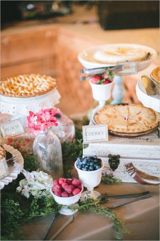 Pie with FRUIT on the side  wedding seasonal fruit pies- peach/ginger, strawberry/rhubarb, fig tart, scottish lavender shortbread
