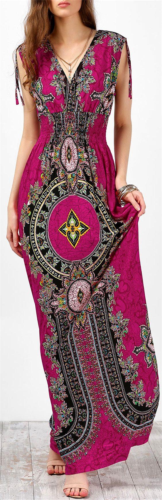 $23.27 Sleeveless Empire Waist Ornate Print Maxi Dress - Rose Red