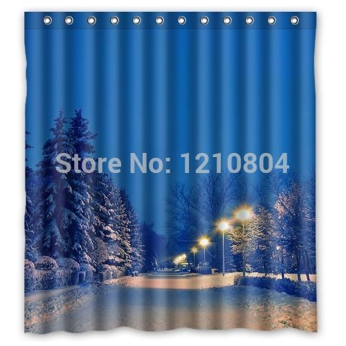 "ROMANTIC! ""Winter Street"" Personalized custom  Waterproof Shower Curtain Bath Curtain !!"