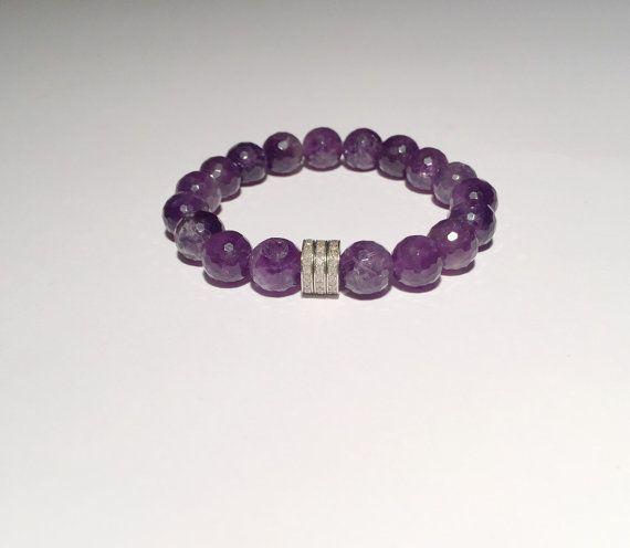 Beaded Amethyst, DIAMOND bracelet, Diamond, amethyst bracelet, Natural amethyst bracelet with diamond FREE SHIPPING