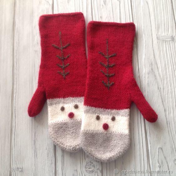 Купить Варежки вязаные дед Мороз в интернет магазине на Ярмарке Мастеров