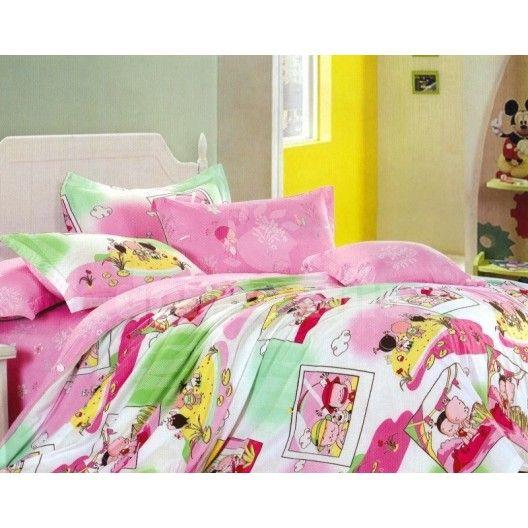 Bielo - ružové detské posteľné obliečky s motívom