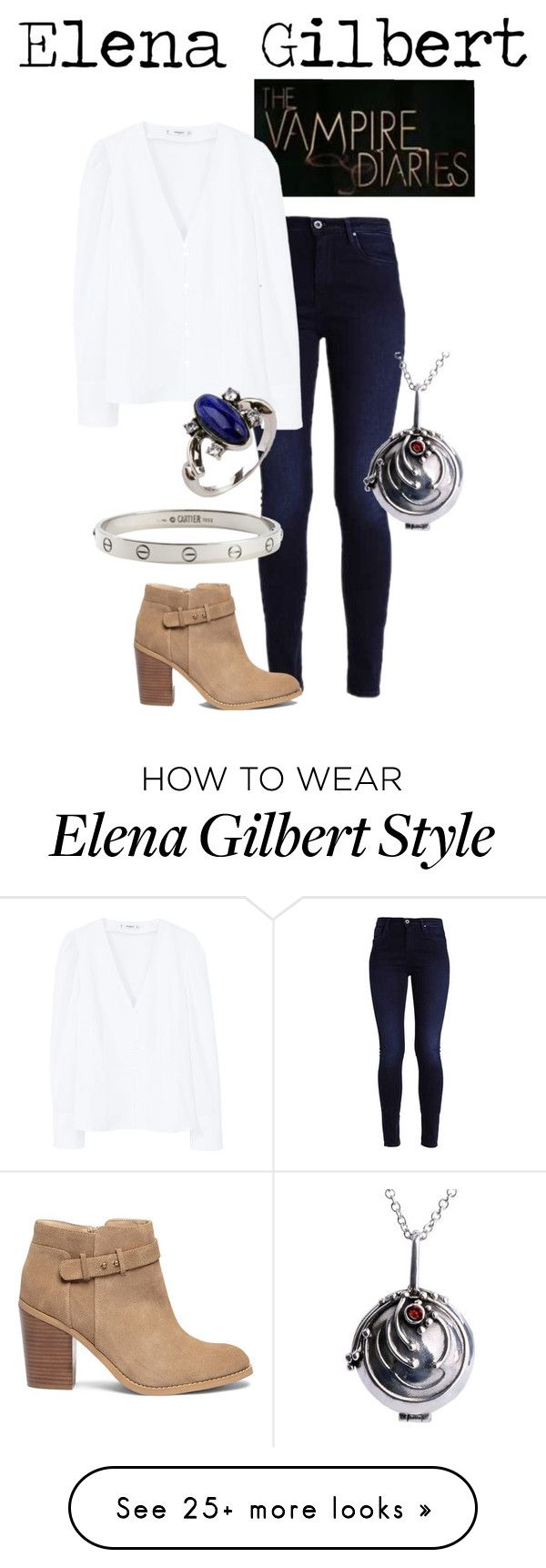 """""""Elena Gilbert"""" by weasleysweaters on Polyvore featuring Sole Society, MANGO and Cartier"""