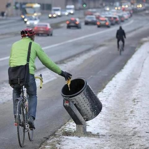 Riders keeping the streets clean.