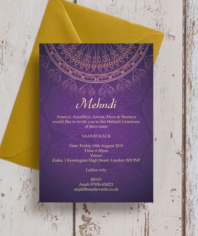 Purple Gold Mehndi Baraat Card Wedding Invitations Indian