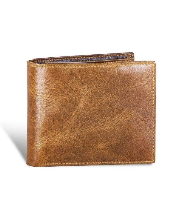 Men/'s Genuine Natural Leather Wallet Bifold Slim Beige Card Coin Pocket Purse