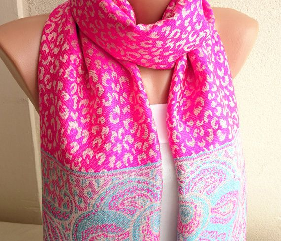 Pink Leopard Cashmere Pashmina Scarf Pink by ModernScarfPoint