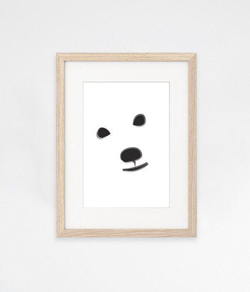 Sne design Polar bear in snow storm poster / print