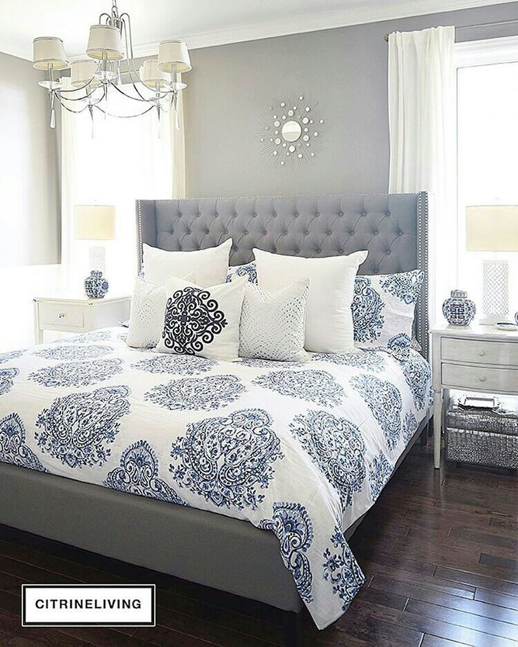 Beautiful blue and white bedroom